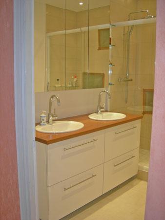 Meuble de salle de bain avec deux lavabos et meuble de rangement - Menuiserie Agencement Général 44 à Nantes (44)